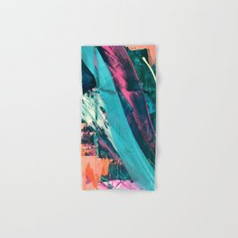 Wild [7]: a bold, colorful abstract mixed-media piece in teal, orange, neon blue, pink and white Hand & Bath Towel