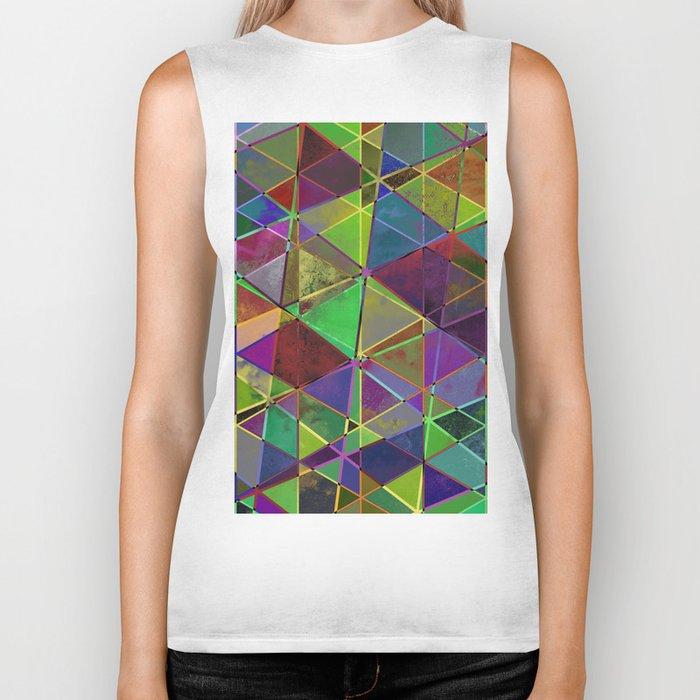 Tangled Triangles - Abstract, textured, geometric design Biker Tank