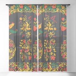 Native russian khokhloma Sheer Curtain