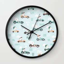 Bunny Race - retro racing pattern Wall Clock