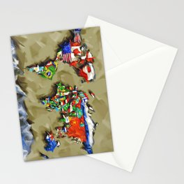 world map with flags vintage 2 Stationery Cards