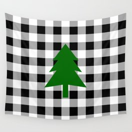 Christmas Tree - black buffalo check Wall Tapestry