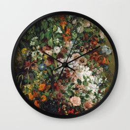 Gustave Courbet - Bouquet Of Flowers In A Vase Wall Clock