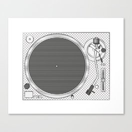 turntable  illustration - sketch pop art drawing Canvas Print