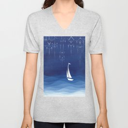 Garland of stars, sailboat Unisex V-Neck