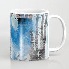 Blue Watercolor Drawing with Black Pattern: Scribble Series 04 Coffee Mug