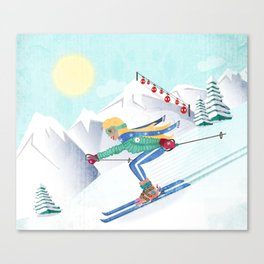 Skiing Girl Canvas Print