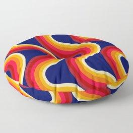 Rainbow Sunset - 70s retro art, seventies style rainbow Floor Pillow