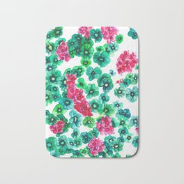 Pink Begonia Green Leaves Bath Mat