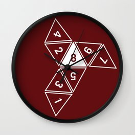 Red Unrolled D8 Wall Clock