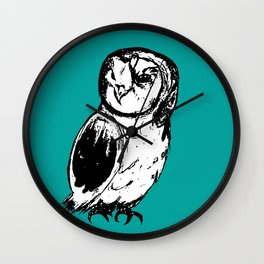 Turquoise Owl Wall Clock