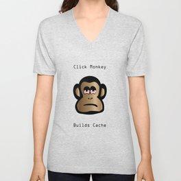 Click Monkey Builds Cache Unisex V-Neck