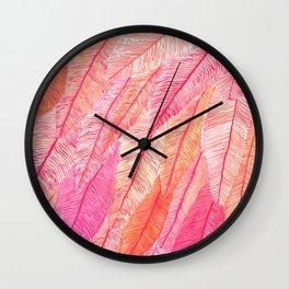 Blush Feathers Wall Clock