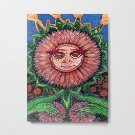 Demure Sunflower Metal Print