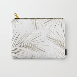 White Gold Palm Leaves on White Carry-All Pouch