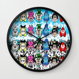 Alice in wonder land emojis Wall Clock