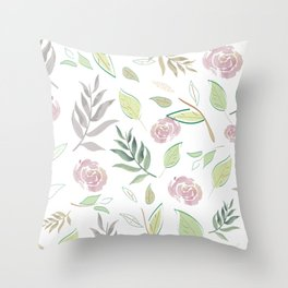 Simple and stylized flowers Throw Pillow