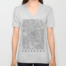 Brisbane Map Line Unisex V-Neck