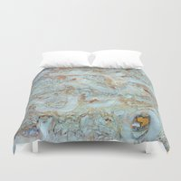 jewish Duvet Covers featuring Marble in shades of blue and gold by Brown Eyed Lady
