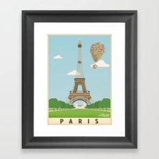 Disney's Pixar UP Paris / Eiffel Tower - Travel Poster Framed Art Print