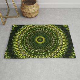 Mossy Dark Green Mandala Rug
