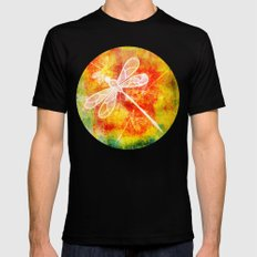 Dragonfly in embroidered beauty MEDIUM Black Mens Fitted Tee