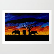 Sunset Elephants Art Print