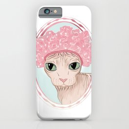 Hairless Sphynx Cat in a Pink Shower Cap  iPhone Case