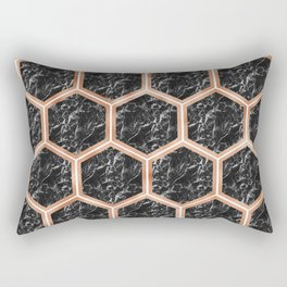 Black campari marble & copper honeycomb Rectangular Pillow