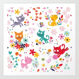 cats playing and flowers Art Print