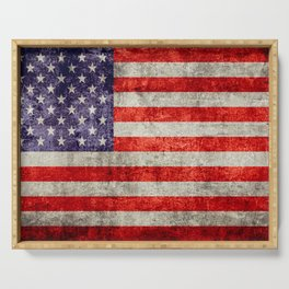 Antique American Flag Serving Tray