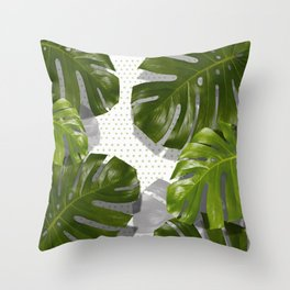 """Monstera plant on polka dots and white"" Throw Pillow"