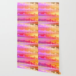 Tropical Beach Pattern (orange and magenta) Wallpaper
