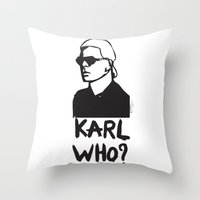 karl Throw Pillows featuring Karl who? by Muneera B