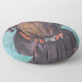 Chocolate lab LABRADOR RETRIEVER dog portrait painting by L.A.Shepard fine art Floor Pillow