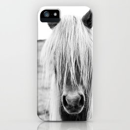 Icelandic Horse in Black & White iPhone Case