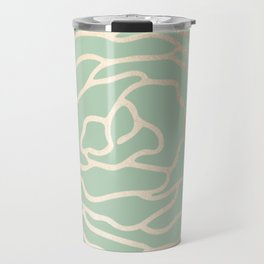 Rose White Gold Sands on Pastel Cactus Green Travel Mug