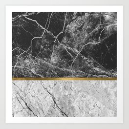 Contemporary gold marble 01 Art Print