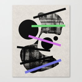 PENSIVE - Eclectic blend of geometric shapes, pastel colours, and black and white textures Canvas Print