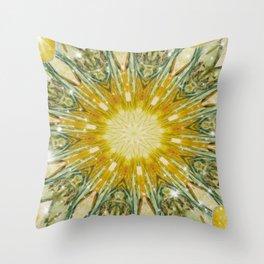 Green and Yellow with Sparkles Kaleidoscope Mandala Retro Abstract Throw Pillow