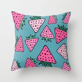 strawberry blue Throw Pillow