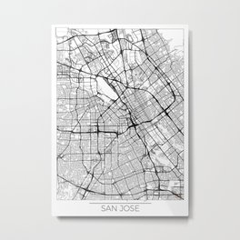 San Jose Map White Metal Print