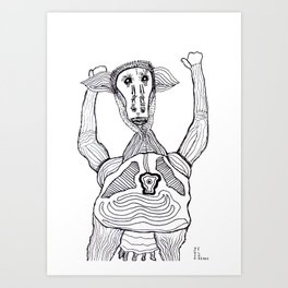 Champion Cow Art Print