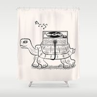 tortoise Shower Curtains featuring Tortoise Wax by Oliver Lake