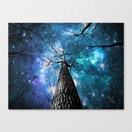 Wintry Trees Galaxy Skies Teal Blue Violet Canvas Print