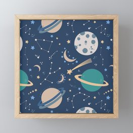 Space art, planets, stars, moon and constellations Framed Mini Art Print