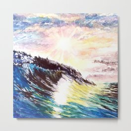 Majestic Wave at Sunset Metal Print