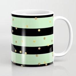 Christmas Golden confetti on Black and Mint Green Stripes Coffee Mug