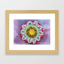 Beaded sunshine mandala for your bright mood Framed Art Print