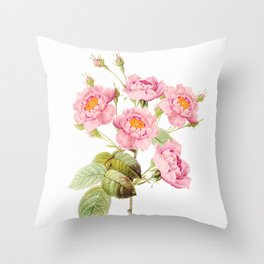 Vintage & Shabby Chic - Bunch of Pink English Roses Throw Pillow